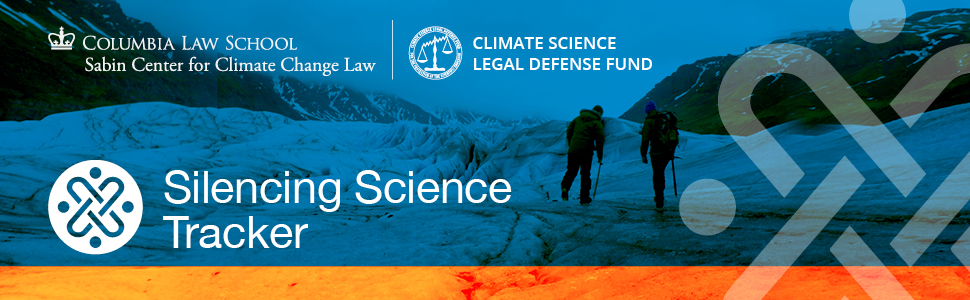 Web banner for the Silencing Science Tracker